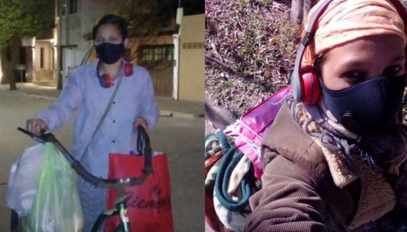 Macarena junto a su bicicleta, misma que usa para repartir toda la ropa lavada. (Foto: TN y La Gente)