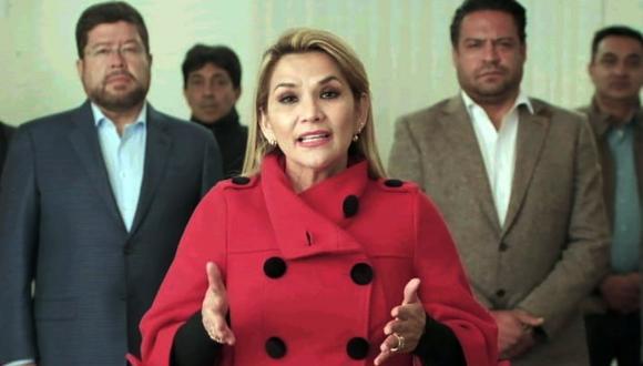 """La presidenta en funciones de Bolivia, Jeanine Áñez, garantiza unas elecciones """"libres y sin presión"""". (Foto: PRESIDENCIA / AFP)"""