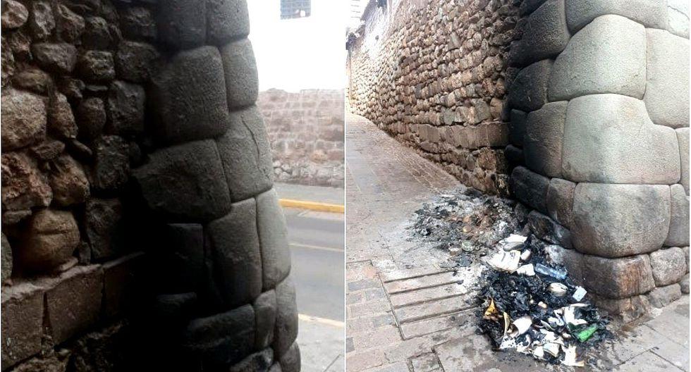 Inescrupulosos queman basura y dañan muro inca en Cusco (FOTOS)