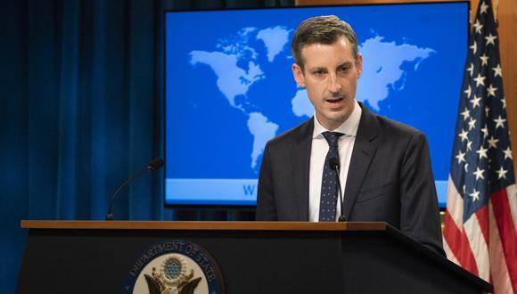 El portavoz del Departamento de Estado de EE. UU., Ned Price, habla durante una conferencia de prensa en la Casa Blanca. (Foto: MANUEL BALCE CENETA / POOL / AFP)