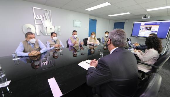 Jefe de la ONPE, Piero Corvetto, se reunió con la Misión Electoral de la OEA. (Foto: ONPE)