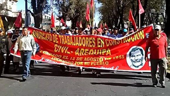 Paro Nacional: Construcción Civil amenaza con tomar Plaza de Armas de Arequipa
