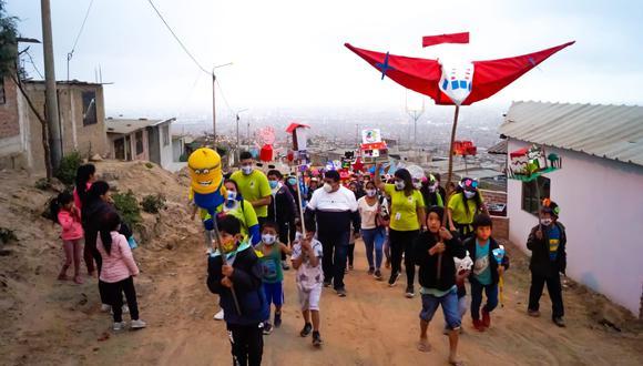 Colorido recorrido se realizó a inmediaciones del Cerro Cabras en la parte alta del distrito de La Esperanza.