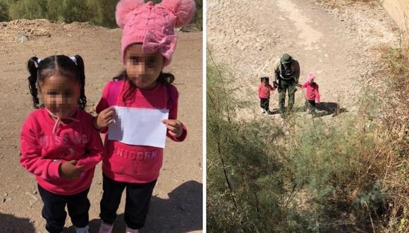 Las autoridades afirmaron que las hermanas de 4 y 6 años estaban deambulando cerca a un represa. (Foto: Facebook / US Border Patrol Yuma Sector)