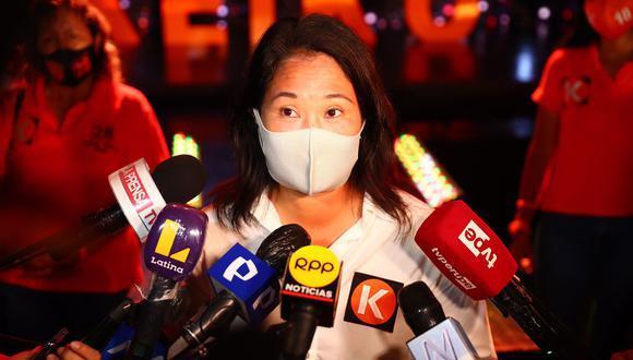 Keiko Fujimori declaró luego del cierre de su campaña. (Foto: Hugo Curotto / @photo.gec)
