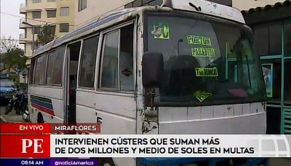 Miraflores: Retiran de circulación tres cústers que deben más de 2 millones de soles en multas (VIDEO)